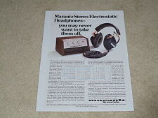 Marantz SE-1s Electrostatic Headphone Ad, 1 pg, Article