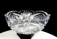 "ABP BRILLIANT CUT CRYSTAL BUZZSAW AND FAN CROSSHATCH 8 1/4"" BOWL 1890-1916"