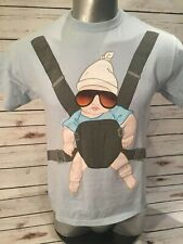 The Hangover Movie Baby Carrier Blue Graphic T-Shirt Alan Zach Galifianakis