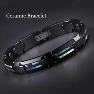 Mens Black Ceramic Bracelets 2-rows Shell Health Magnetic Energy Bangle Chain