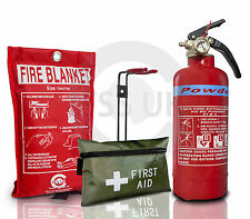 21B DRY ABC Powder Fire Extinguisher 600g+FIRE BLANKET BOAT HOME WORK + 1ST AID
