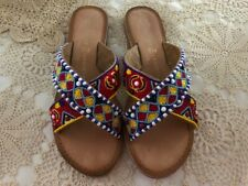 Ladies CHINESE LAUNDRY Beaded Embriodered Leather Sandals Size US 8.5
