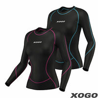 Ladies Women's Compression Top Long Sleeve Base Layer Running Gym Training Top
