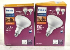 Lot 2 Philips 150-Watt Equivalent Flood Bulb BR40 Dimmable Warm Glow Soft White