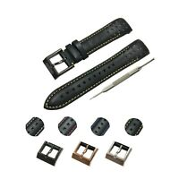 Fits For Seiko Sportura Watches 21mm Black (Yellow) Genuine Leather Watch Strap