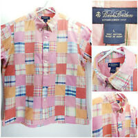 Brooks Brothers Mens Madras Large Shirt Short Sleeve Button Up Patchwork Pink