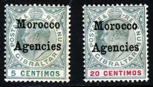 MOROCCO AGENCIES KE VII 1903-5 5c & 20c Gibraltar Issue Ovptd SG 17 & SG 19 MINT