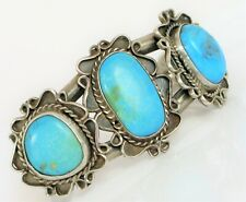 VTG NATIVE AMERICAN THICK & HEAVY STERLING SILVER TURQUOISE CUFF BRACELET 72G