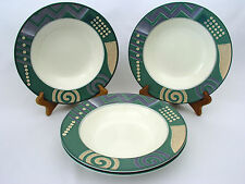 "MIKASA INTAGLIO - LIFE STYLE CAC18 - 9 1/4"" RIMMED SOUP BOWLS (4)- EXCELLENT"
