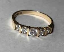 Cubic Zirconia CZ and 14 K Gold Ring Wedding Band Size 9