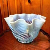 Vintage Fenton Glass Opalescent Swirl Optic Spiral Lamp Shade