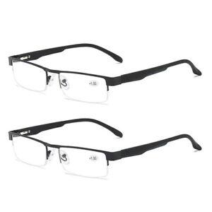 2 Pair Mens Reading Glasses Spring Hinges Business Metal 1.0 1.5 2.0 2.5 3.0 4.0