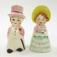 "Vintage Japan Salt Pepper Shakers Dressed up Couple Man Woman Suit Gown 3"" tall"