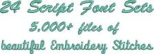 5000+ PES SCRIPT FONT files Machine Embroidery (24 Sets) USB Brother Bernina