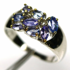 NATURAL BLUE TANZANITE RING 925 STERLING SILVER SIZE 8