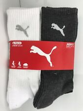 Men's PUMA Brand White Black Gray Athletic Crew Socks - 6 Pack - $36 MSRP