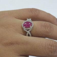 NewDiamond Pave Ruby Gemstone 18K White Gold Engagement Ring Women Gift Jewelry