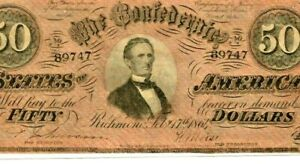 """$50 """"CONFEDERATE"""" 1800'S $50 (RARE) """"CONFEDERATE"""" 1800'S (RARE)  SUPER CRISPY!!!"""