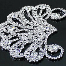 Silver Crystal Clear Bling Glass Rhinestone Applique Sewing Craft For Dress 1 Pc
