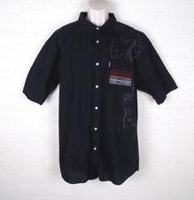 Mecca USA Black Button Front Shirt Men Size 2XL Graphic Design Urban Streetwear