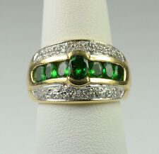 HEAVY 14K YELLOW GOLD TSAVORITE GREEN GARNET & DIAMOND RING 6.8 GRAM / SIZE 6