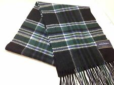 $425 MACYS CLUB ROOM Mens UNISEX BLACK GREEN PLAID CHECK CASHMERE SHAWL SCARF