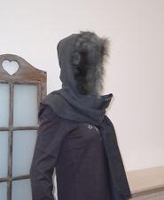 warmer Kapuzenschal Mütze Capuchon Schalmütze mit Webpelz Schal dunkelgrau