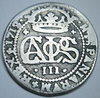1713 Spanish Silver 2 Reales Piece of 8 Real Colonial Era Pirate Treasure Coin