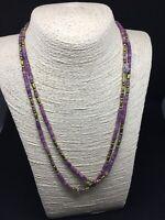 Vintage Bovine Bone Metal Beaded Bohemian purple blue Necklace