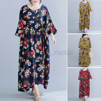 Women Summer Casual Loose Baggy Oversized Floral Dress Long Maxi Kaftan Pullover
