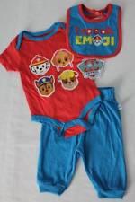 NEW Baby Boys 3 piece Outfit 3 - 6 Month Bodysuit Pants Bib Set Paw Patrol Emoji