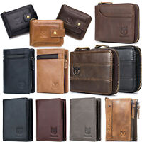 Mens Wallet Genuine Leather Zip Around RFID Bifold Card Purse for Christmas Gift