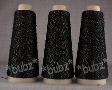 Tres bien Lurex Brillo hilado del cono 6 Bola De Punto Negro y Oro Brillo Encaje Sparkle