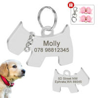 Rhinestone Personalized Dog Pet ID Tag Engraved Dog Name Charm for Pet Collars