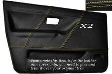 YELLOW STITCH 2X FRONT DOOR CARD SKIN COVERS FITS VW GOLF MK2 II JETTA 83-92 5DR