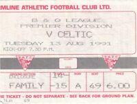 Ticket - Dunfermline v Celtic 13.08.91