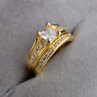 Fashion Gold Plated Stainless Steel Wedding Couple Engagement Ring Set