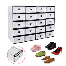 Home Shoe Box Foldable Storage Plastic Transparent Shoe Container Rack Stack X20
