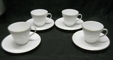 Bavaria WUNSIEDEL Classic White Coffee Cup & Saucer Gold Trim Set of 4