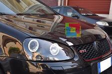 VW GOLF 5 MK5 FARI ANTERIORI NERI ANGEL EYES BIANCHI A LED LOOK GTI