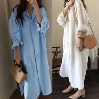 ZANZEA Women Long Sleeve Casual Long Shirt Dress Buttons Down Midi Dress Tops