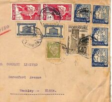 PORTUGAL WW2 Cover 1942 CENSOR High Rate Air Mail HORSES Wembley {samwells}AD317