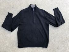 Marc Ecko Cut & Sew Men's Knit Quarter Zip Black Sweater Size Large
