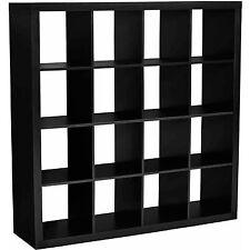 Storage Cube Organizer 16 Cubbies Shelves Solid Black Bookcase Closet Furniture