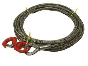 Winch Wire Rope - Recovery Winch Cable - 9mm Dia With Swivel Hook  Choose Length