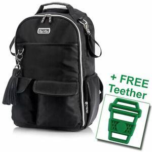 Itzy Ritzy® Boss Diaper Bag Backpack Black Herringbone FREE Latte Teether
