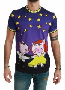 NEW $400 Dolce & Gabbana T-shirt Purple Cotton Top Year of the Pig IT46/US36/S