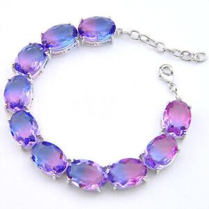 Fashion Style Fire Purple Oval Tourmaline Gemstone Silver Chain Bracelets 8 Inch