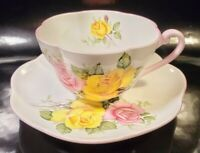 RARE Shelley Yellow Pink Roses Dainty Teacup and Saucer Set England Bone China
