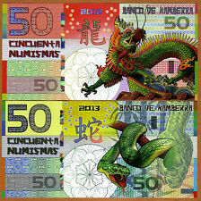 SET, Kamberra, POLYMER, 50 + 50, China Lunar Year 2012;2013, UNC > DRAGON SNAKE